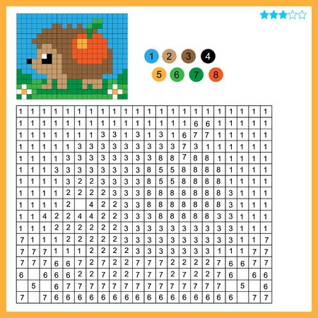 Hedgehog with apple. Color by numbers. Coloring book for kids. Colorful Puzzle Game for Children with answer. Ilustracja