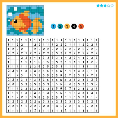 Goldfish or fish. Color by numbers. Coloring book for kids. Colorful Puzzle Game for Children with answer.