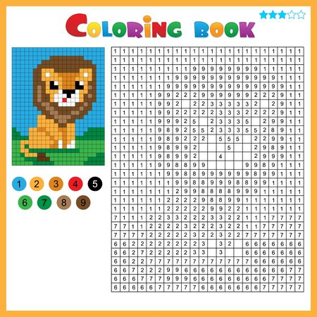 Lion. Color by numbers. Coloring book for kids. Colorful Puzzle Game for Children with answer. Ilustracja