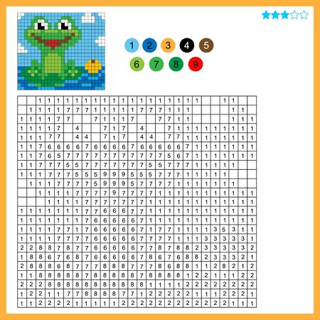Frog with a water Lily. Color by numbers. Coloring book for kids. Colorful Puzzle Game for Children with answer. Ilustracja