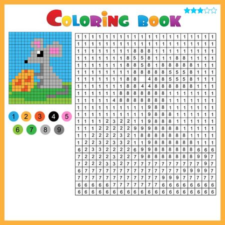 Mouse with cheese. Color by numbers. Coloring book for kids. Colorful Puzzle Game for Children with answer.