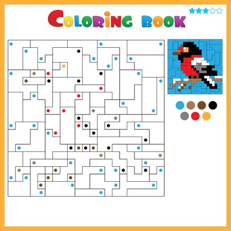 Bullfinch. Coloring book for kids. Colorful Puzzle Game for Children with answer.