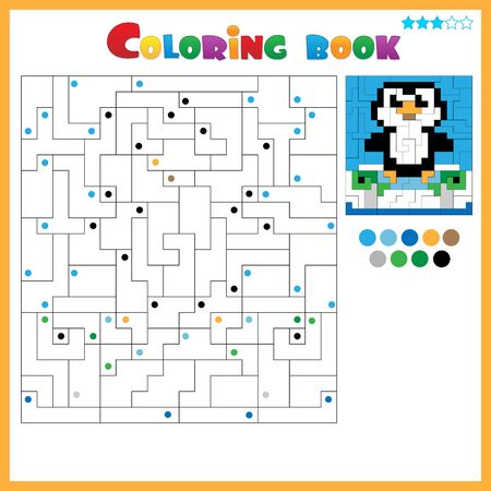 Penguin. Coloring book for kids. Colorful Puzzle Game for Children with answer. Ilustracja