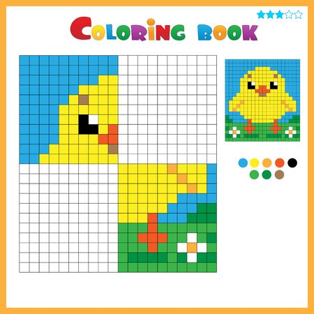 Chick or chicken. Color the image symmetrically. Coloring book for kids. Colorful Puzzle Game for Children with answer. Ilustracja