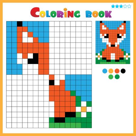 Fox. Color the image symmetrically. Coloring book for kids. Colorful Puzzle Game for Children with answer.
