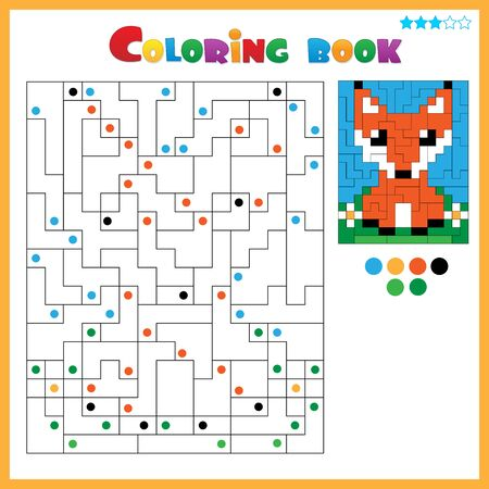 Fox. Coloring book for kids. Colorful Puzzle Game for Children with answer.