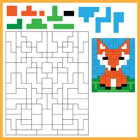 Fox. Color the image using shapes. Coloring book for kids. Colorful Puzzle Game for Children with answer.