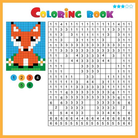 Fox. Color by numbers. Coloring book for kids. Colorful Puzzle Game for Children with answer. Ilustracja