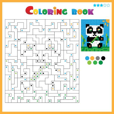 Panda. Coloring book for kids. Colorful Puzzle Game for Children with answer.