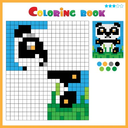 Panda. Color the image symmetrically. Coloring book for kids. Colorful Puzzle Game for Children with answer.