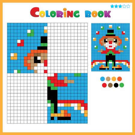 Clown. Color the image symmetrically. Coloring book for kids. Colorful Puzzle Game for Children with answer.