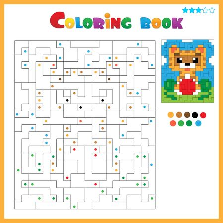 Cat with ball. Coloring book for kids. Colorful Puzzle Game for Children with answer.