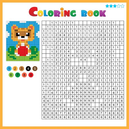 Cat with ball. Color by numbers. Coloring book for kids. Colorful Puzzle Game for Children with answer.