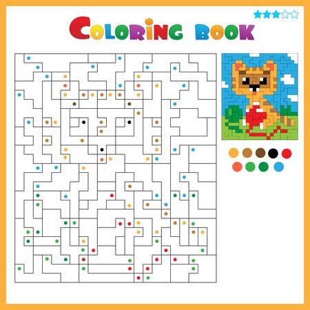 Cat with balls of yarn. Coloring book for kids. Colorful Puzzle Game for Children with answer.