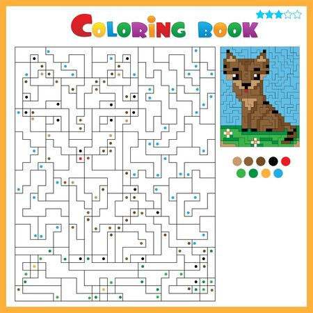 Cat. Coloring book for kids. Colorful Puzzle Game for Children with answer. Ilustración de vector