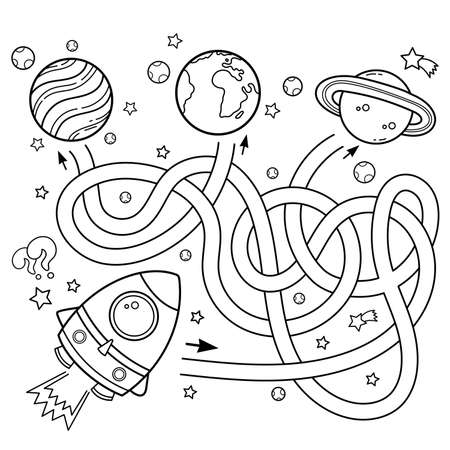 Maze or Labyrinth Game for Preschool Children. Puzzle. Tangled Road. Coloring Page Outline Of Cartoon rocket in space. Coloring book for kids.
