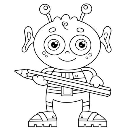 Coloring Page Outline Of a cartoon little alien with pencil. Space. Coloring book for kids.