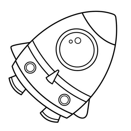 Coloring Page Outline Of a cartoon rocket. Space. Coloring book for kids.