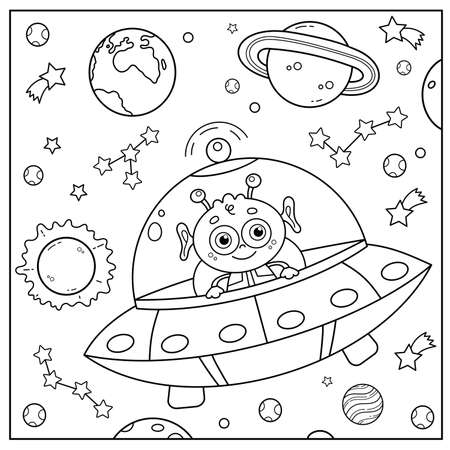 Coloring Page Outline Of a cartoon flying saucer with alien in space. Coloring book for kids.