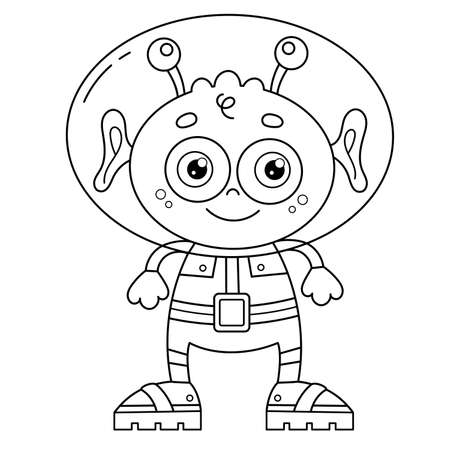 Coloring Page Outline Of a cartoon little alien. Space. Coloring book for kids.