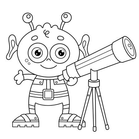 Coloring Page Outline Of a cartoon little alien with telescope. Space and astronomy. Coloring book for kids. Vettoriali