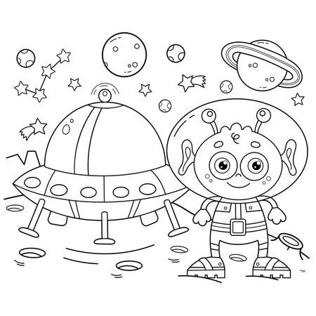 Coloring Page Outline Of a cartoon alien with a flying saucer on a planet in space. Coloring book for kids.