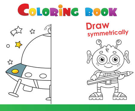 Draw symmetrically. Coloring Page Outline Of a flying saucer with cartoon alien. Space. Coloring book for kids.