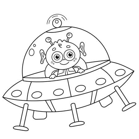 Coloring Page Outline Of a cartoon flying saucer with alien. Space. Coloring book for kids.