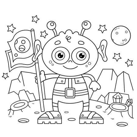 Coloring Page Outline Of a cartoon little alien with flag on planet. Space. Coloring book for kids.