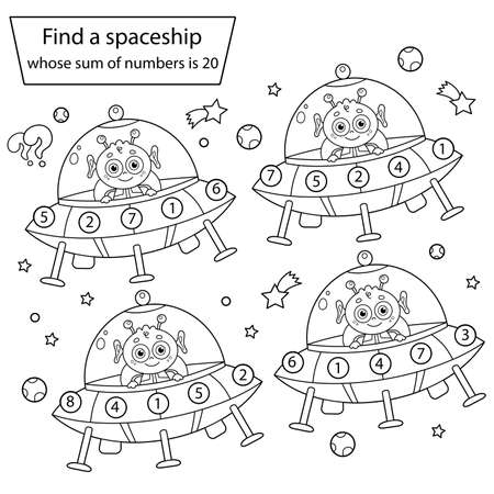 Find a spaceship whose sum of numbers is 20. Space Puzzle Game. Coloring Page Outline Of a flying saucer with cartoon alien. Coloring book for kids.