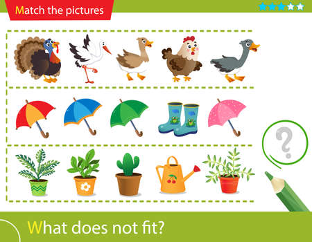 Logic puzzle for kids. What does not fit? Farm bird or poultry. Umbrellas. Indoor plants. Matching game, education game for children. Worksheet vector design for preschoolers.