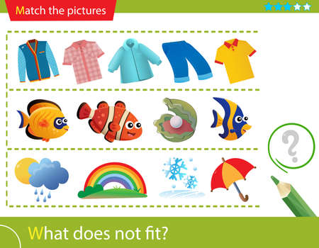 Logic puzzle for kids. What does not fit? Sweatshirts and shirts. Fish. Weather events. Matching game, education game for children. Worksheet vector design for preschoolers.