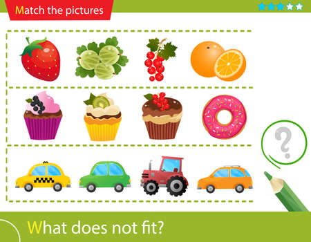 Logic puzzle for kids. What does not fit? Berries. Cupcakes. Automobile cars. Matching game, education game for children. Worksheet vector design for preschoolers.