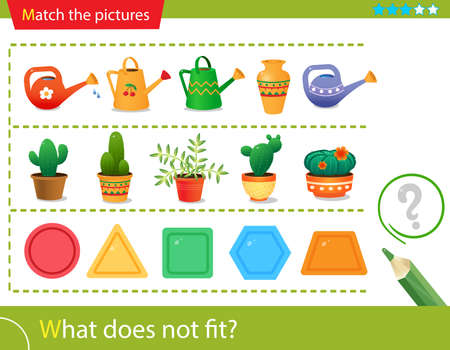 Logic puzzle for kids. What does not fit? Flower watering cans. Cactuses. Geometric shapes: polygons. Matching game, education game for children. Worksheet vector design for preschoolers. Vettoriali