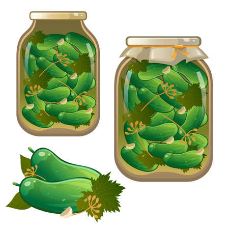 Color image of jar of pickles. Pickled cucumbers. Vegetables. Marination. Food and cooking. Vector illustration set. 向量圖像