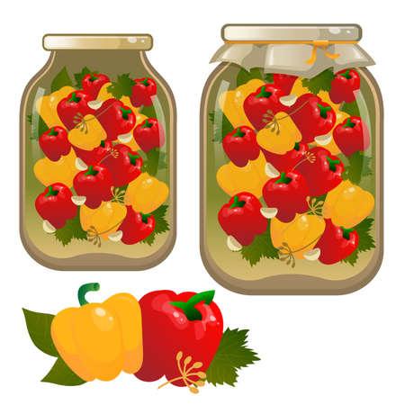 Color image of jar of pickled peppers. Vegetables. Pickles. Food and cooking. Vector illustration set.