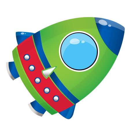 Color image of cartoon rocket on white background. Space. Vector illustration for kids.