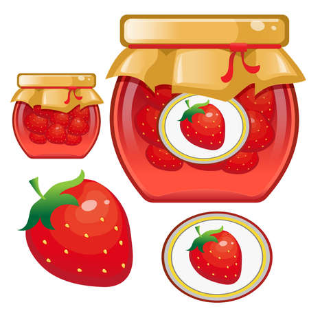 Color image of jar of strawberry jam. Berries and fruits. Food and cooking. Vector illustration. Çizim