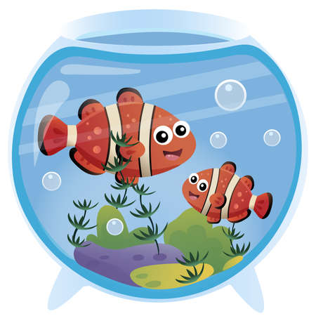 Color image of clown fishes in an aquarium on white background. Pets. Vector illustration for kids. 向量圖像
