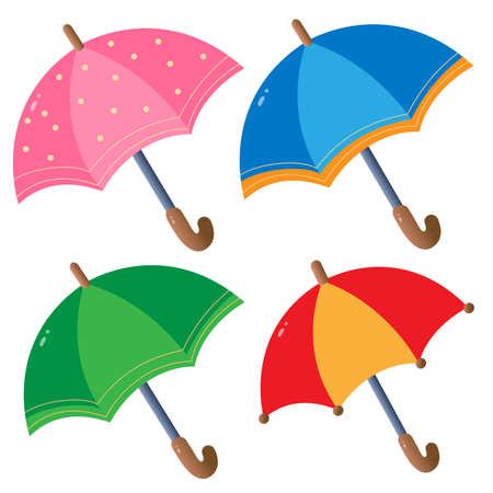 Color images of multicolored umbrellas for kids on white background. Vector illustration set.