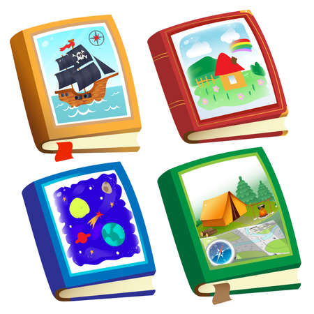 Color image of children's books on white background. Fairy tales and adventure. Encyclopedia and fiction. Vector illustration set for kids. 向量圖像