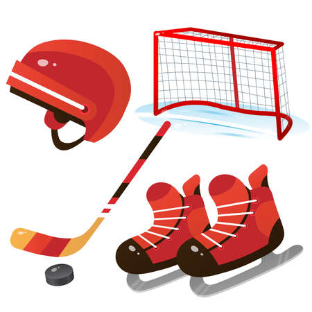 Hockey set. Color images of cartoon skates with helmet, stick and puck on white background. Sports equipment. Vector illustration for kids.