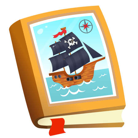 Color image of children's book about pirates on white background. Fairy tales and adventure. Vector illustration for kids. Illusztráció