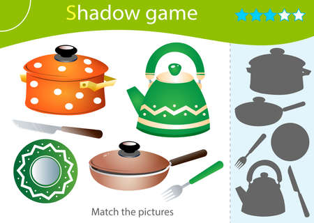 Shadow Game for kids. Match the right shadow. Color image of dishes. Pan, kettle, knife, frying pan, plate, fork. Worksheet vector design for children and for preschoolers.