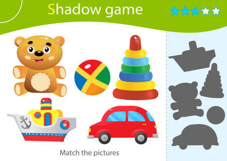 Shadow Game for kids. Match the right shadow. Color images of toys. Toy car and and boat, Teddy bear, ball, pyramid. Worksheet vector design for children and for preschoolers. Illusztráció