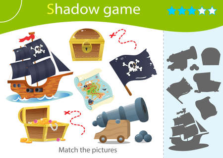 Shadow Game for kids. Match the right shadow. Color images of pirates ship, cannon, black flag with skull, treasure map and chest with gold. Worksheet vector design for children and for preschoolers.