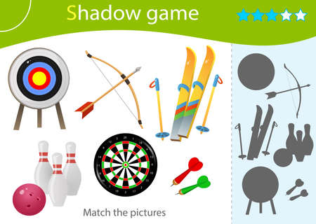 Shadow Game for kids. Match the right shadow. Color images of sports equipment. Skiing, archery, darts, bowling. Worksheet vector design for children and for preschoolers.