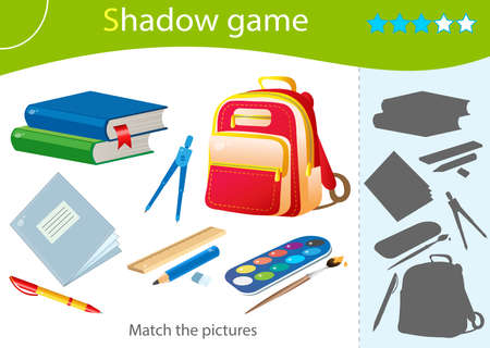 Shadow Game for kids. Match the right shadow. Color images of school supplies. Textbooks, pencil, rulers, pen, notebook, paint and satchel. Worksheet vector design for children and for preschoolers.
