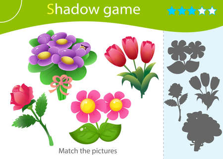 Shadow Game for kids. Match the right shadow. Color images of flowers. Roses, tulips, violets. Worksheet vector design for children and for preschoolers.  イラスト・ベクター素材
