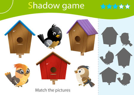 Shadow Game for kids. Match the right shadow. Color images of cartoon birds and birdhouses. Worksheet vector design for children and for preschoolers.